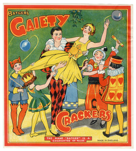 Antique, Unused GAIETY Cracker LABEL ONLY, Batger, Masquerade, Flapper