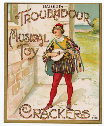 Antique, Unused TROUBADOUR MUSICAL TOY Firecracker LABEL ONLY, Batger
