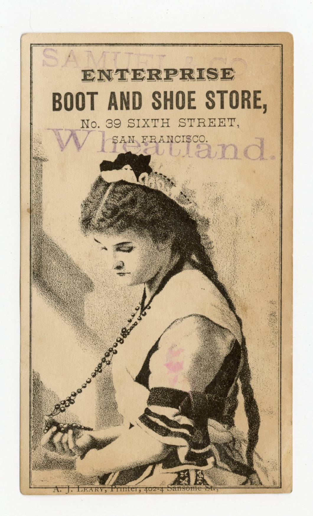 Antique Victorian ENTERPRISE Boot and Shoe Store Trade Card A, San Francisco, Vintage Fashion