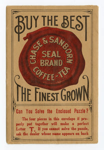 Antique CHASE & SANBORN Coffee, Tea Promotional Advertising Puzzle
