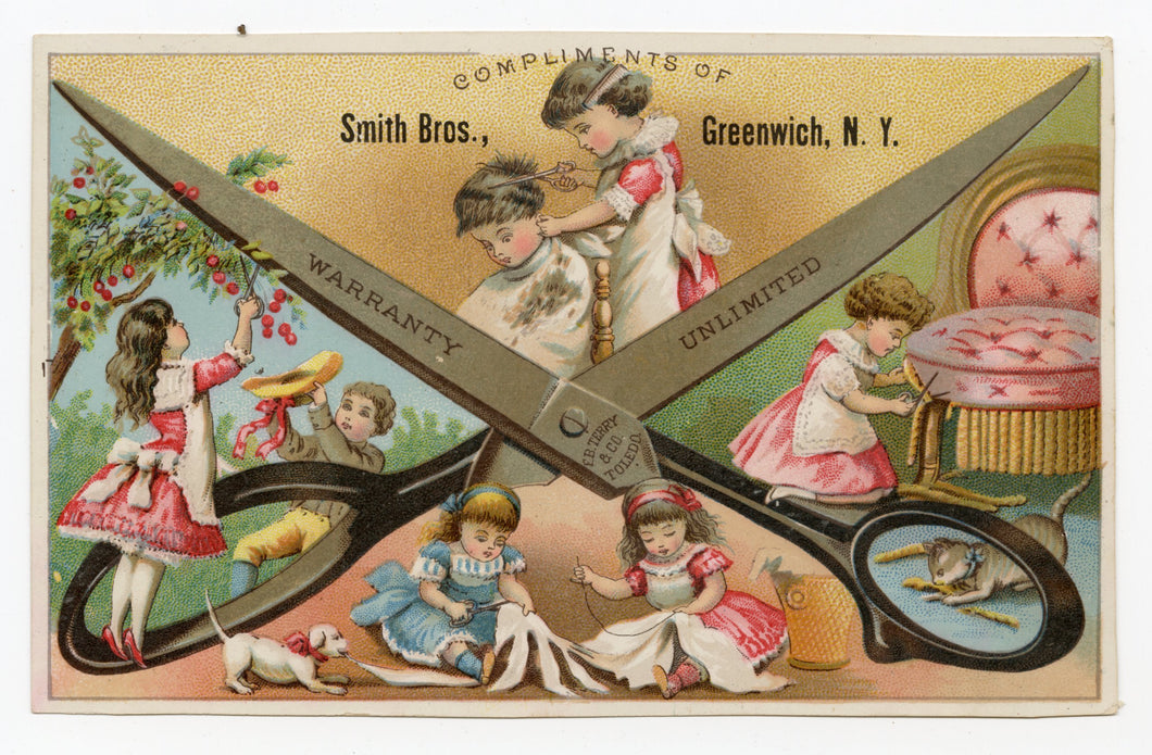 Antique Victorian SMITH BROS. Scissors, Cutting Shears, Sewing Trade Card || Greenwich, N.Y.