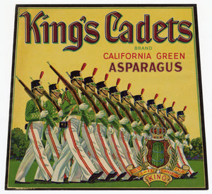 Vintage, Unused KING'S CADETS Asparagus Vegetable Crate Label || Clarksburg, Ca.