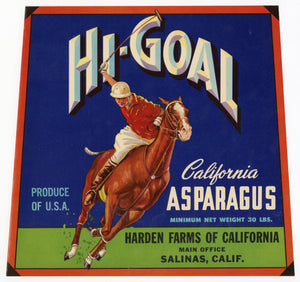 Vintage, Unused HI-GOAL Asparagus Vegetable Crate Label, Polo || Salinas, Ca.