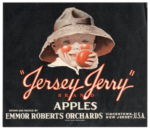 Vintage, Unused JERSEY JERRY Apple Fruit Crate Label || Vincentown, New Jersey
