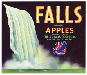 Vintage, Unused FALLS Brand Apple Fruit Crate Label || Chelan Falls, Washington