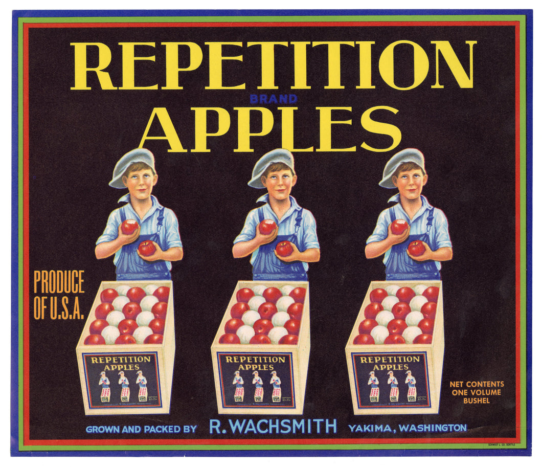 Vintage, Unused REPETITION APPLES Fruit Crate Label || Yakima, Washington