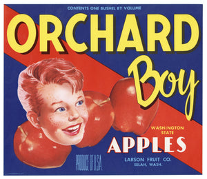 Vintage, Unused ORCHARD BOY Brand Apple, Fruit Label || Selah, Washington