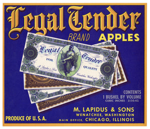 Vintage, Unused LEGAL TENDER Apple Fruit Crate Label || Wenatchee, Washington