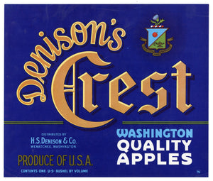 Vintage, Unused DENISON'S CREST Brand Apple Fruit Crate Label || Wenatchee, Washington