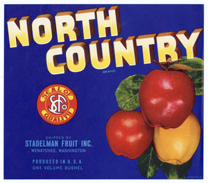 Vintage, Unused NORTH COUNTRY Brand Apple Fruit Crate Label || Wenatchee, Washington