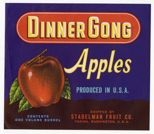 Vintage, Unused DINNER GONG Apple Fruit Crate Label || Yakima, Washington