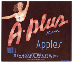 Vintage, Unused A-PLUS Brand Apple Fruit Crate Label || Wenatchee, Washington