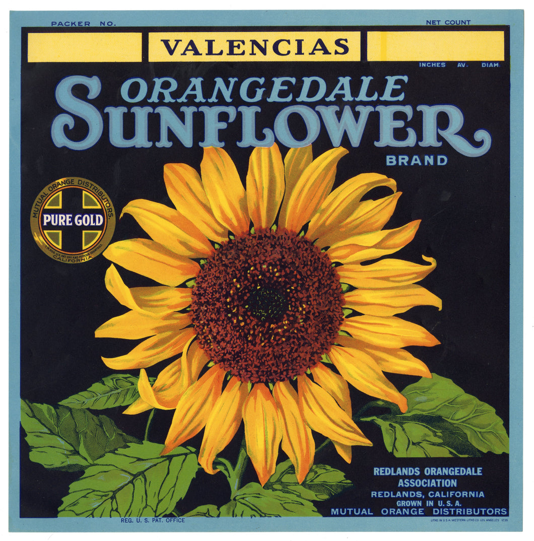 Vintage, Unused ORANGEDALE SUNFLOWER Orange Fruit Crate Label || Redlands, Ca.