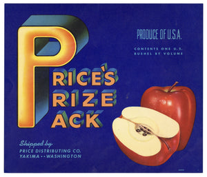 Vintage, Unused PRICE'S PRIZE PACK Apple, Fruit Crate Label || Yakima, Washington