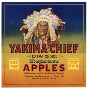 Vintage, Unused YAKIMA CHIEF Evaporated Apple, Fruit Crate Label, Native American || Yakima, Wa.