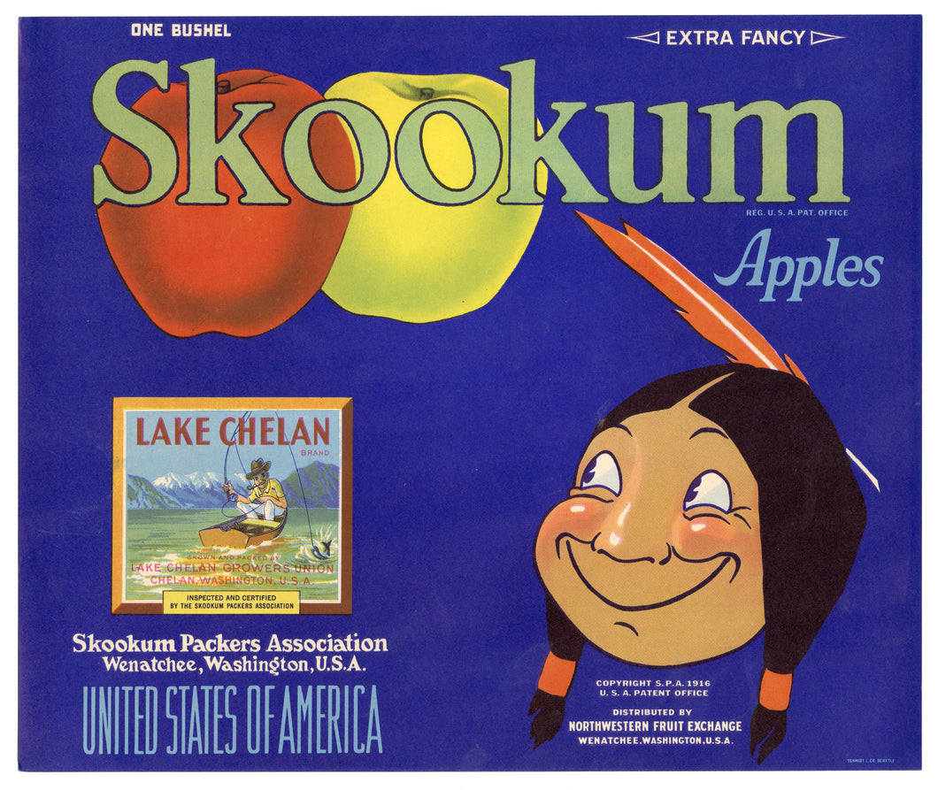 Vintage, Unused SKOOKUM Brand Apple Crate Label, Native American || Wenatchee, Wa.