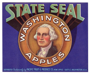 Vintage, Unused STATE SEAL Brand Apple Crate Label, George Washington || Seattle, Wa.
