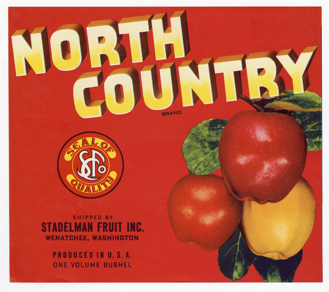 Vintage, Unused NORTH COUNTRY Brand Apple Crate Label || Wenatchee, Wa.