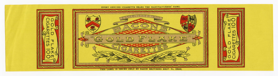 Antique, Unused BACON'S GOLDFLAKE CIGARETTE Package Label