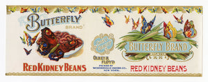 Vintage, Unused BUTTERFLY Brand Red Kidney Beans Can Label