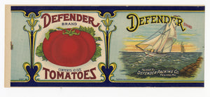 Vintage, Unused DEFENDER Brand Canned Tomato Label, Sail Boat
