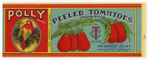 Antique, Unused POLLY Brand Peeled Italian Style Tomatoes Can Label, Parrot || Donna, Texas