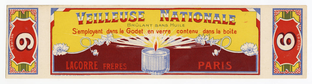 Vintage, Unused, French VEILLEUSE NATIONALE Candle Box Label