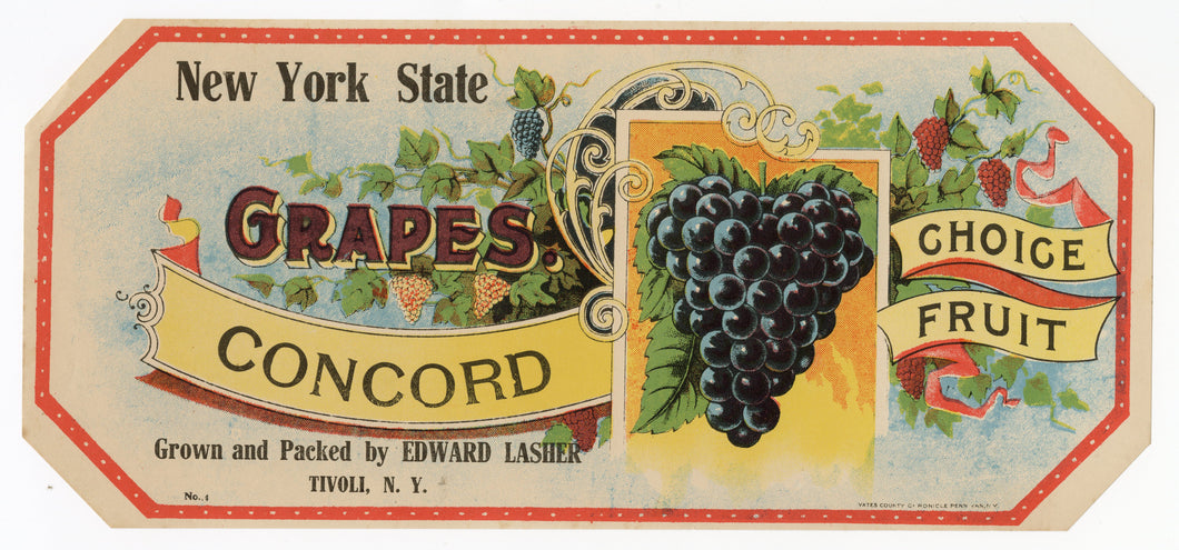 Antique, Unused New York State Concord Grape Label || Tivoli, N.Y.