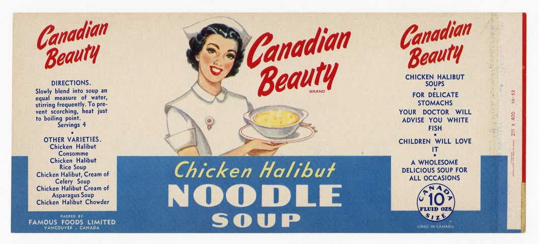 Vintage, Unused CANADIAN BEAUTY Chicken Halibut Noodle Soup Can Label || Vancouver, Canada
