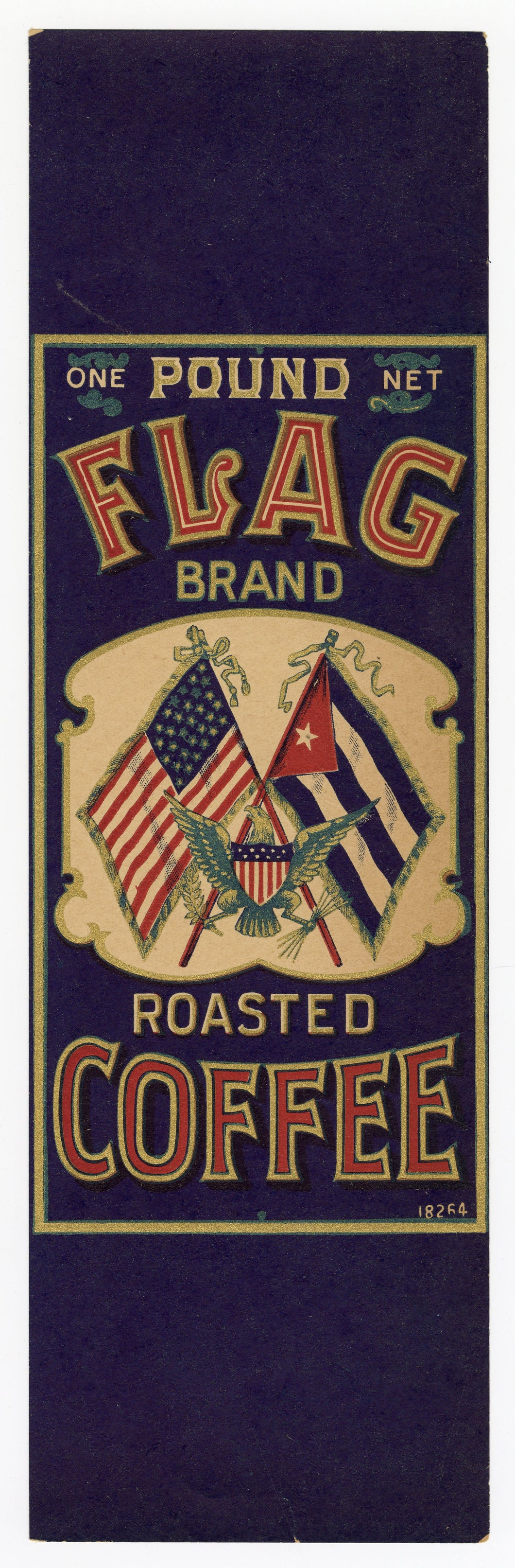 Vintage, Unused FLAG Brand Roasted Coffee Can Label, American, Patriotic