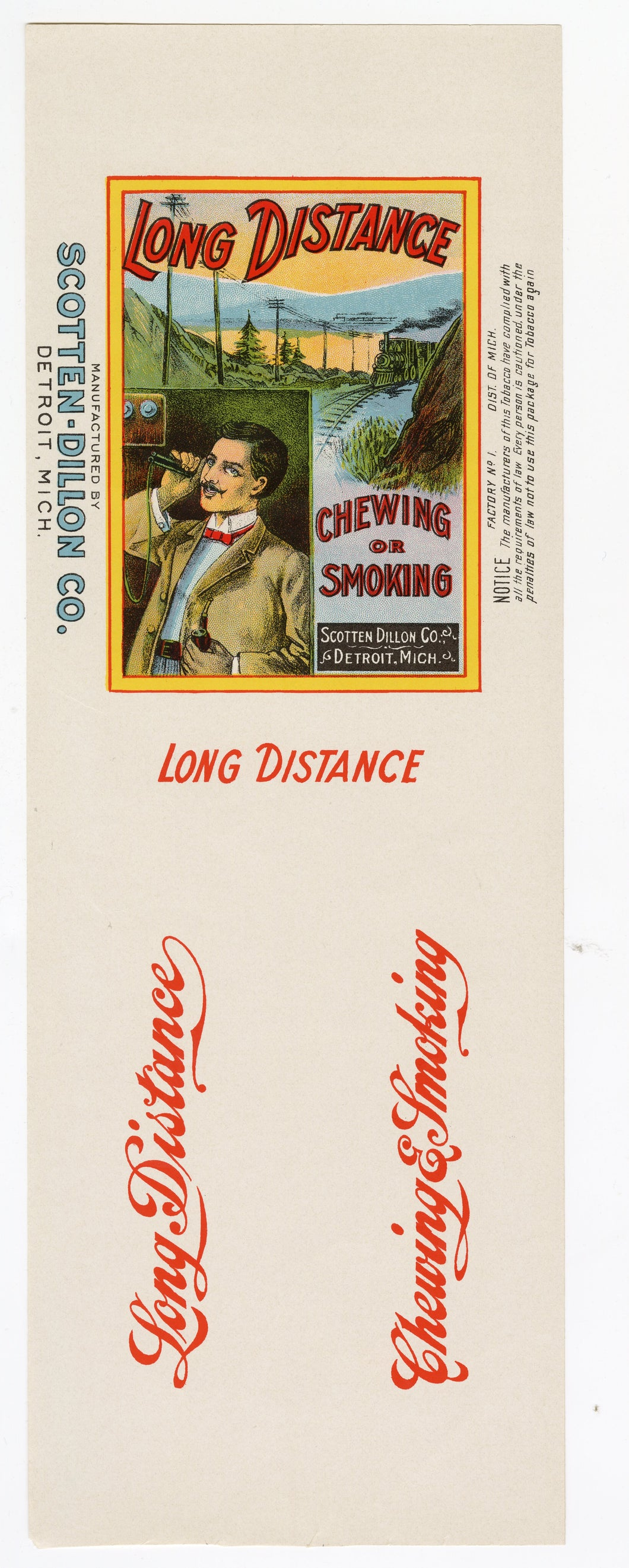 Vintage, Unused LONG DISTANCE Brand Smoking, Chewing Tobacco Can Label || Detroit, Mich.