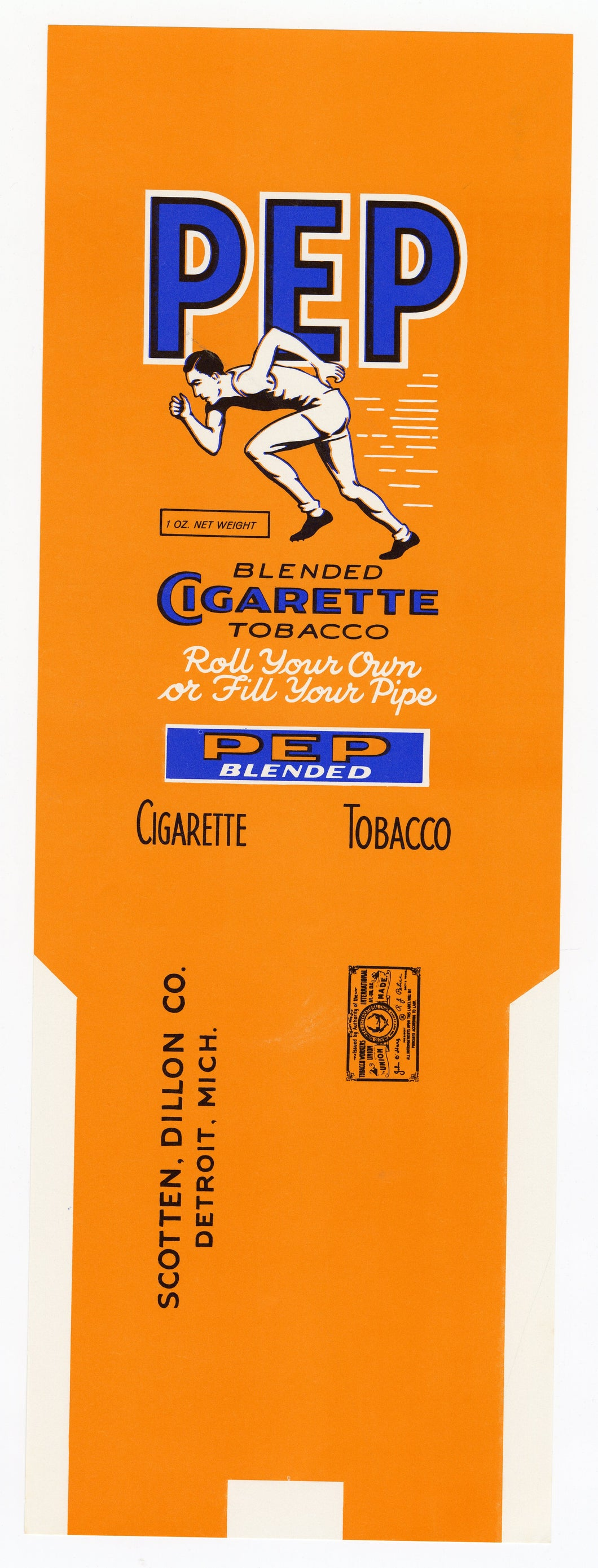 Vintage, Unused PEP Brand Cigarette Tobacco Label, Athlete, Runner || Detroit, Mich.