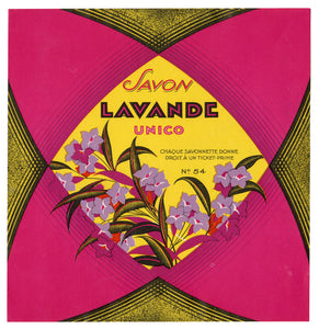 Vintage, Unused SAVON LAVANDE French Soap Label || Unico