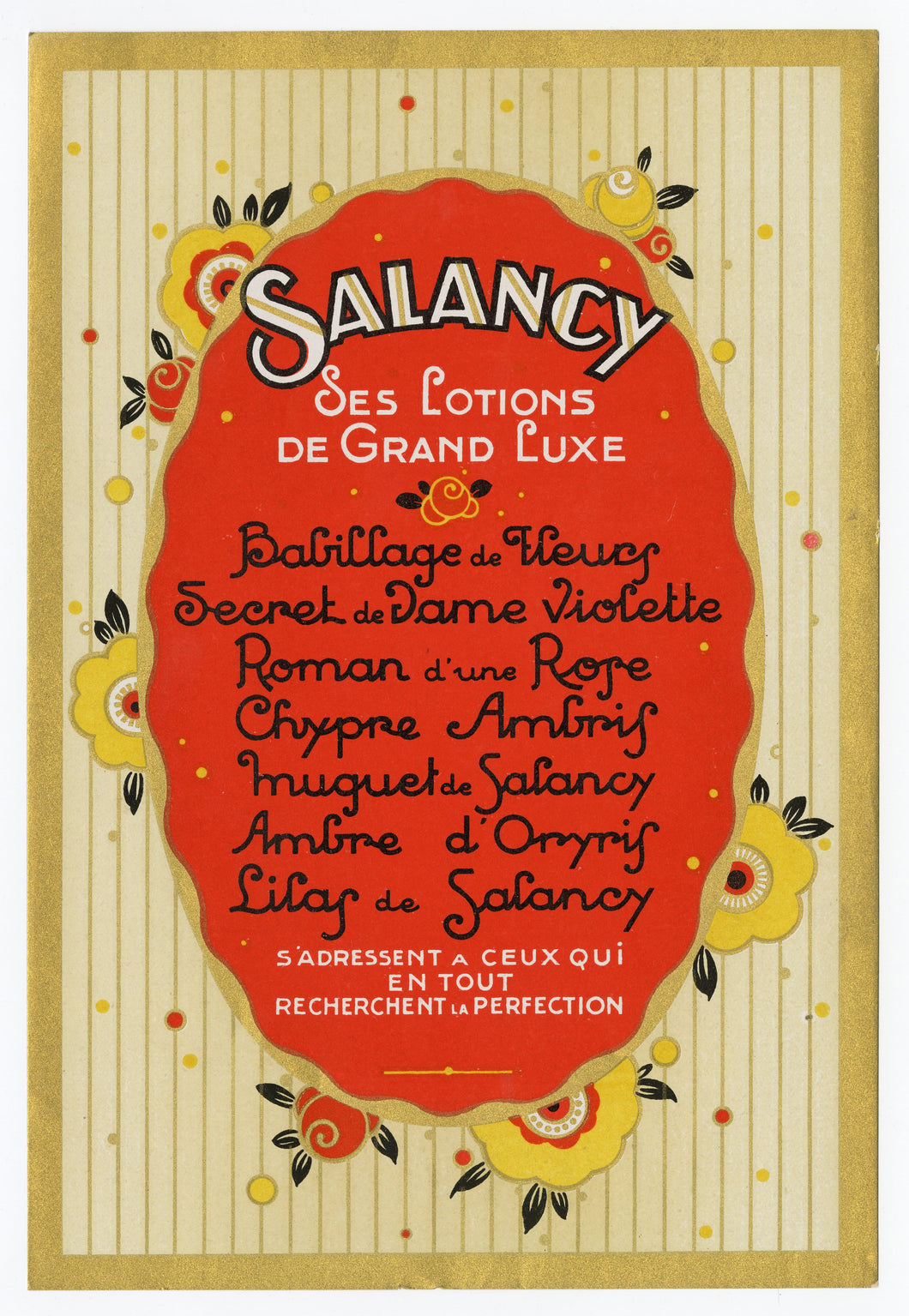 Vintage, Unused Art Deco SALANCY French Lotion, Cosmetic Label