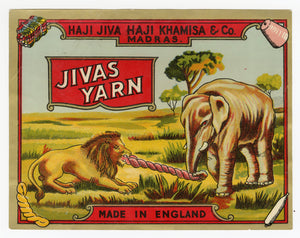 Vintage, Unused Indian JIVAS YARN Label, Elephant, Lion || Madras, India
