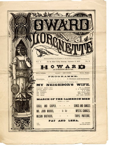 1873 Victorian HOWARD LORGNETTE Theater Program, Lillie Hall, My Neighbor's Wife