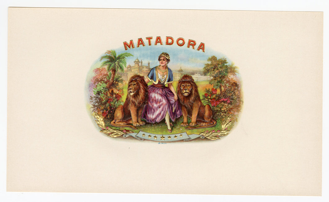 Antique, Unused MATADORA Brand Cigar, Tobacco Caddy Crate Label SET, Lions