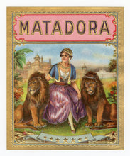 Load image into Gallery viewer, Antique, Unused MATADORA Brand Cigar, Tobacco Caddy Crate Label SET, Lions