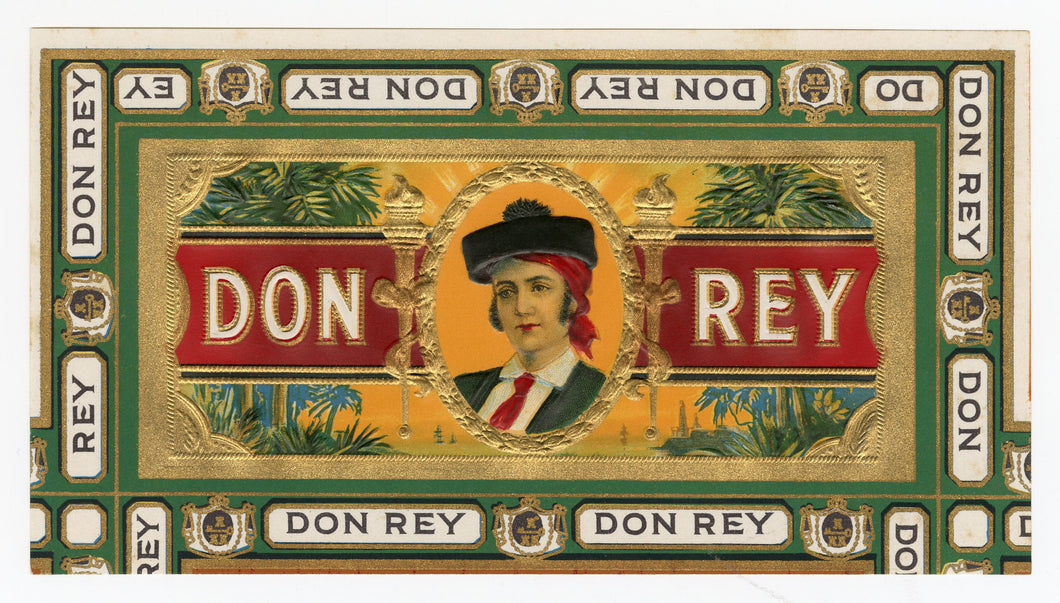 Antique, Unused DON REY Brand Cigar, Tobacco Caddy Crate Label SET