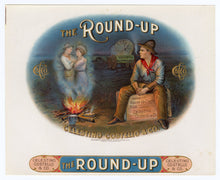 Load image into Gallery viewer, Antique, Unused THE ROUND-UP Brand Cigar, Tobacco Crate Label SET, Pioneer, Cowboy