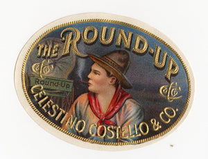 Antique, Unused THE ROUND-UP Brand Cigar, Tobacco Crate Label SET, Pioneer, Cowboy