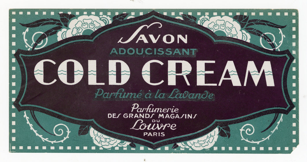 Vintage, Unused, French Art Deco COLD CREAM Perfumed with Lavender Soap Box Label SET