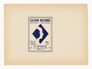 Vintage, Unused, French Art Deco SAVON BEURRE Brand Soap Box Label