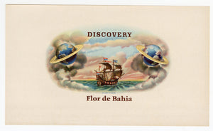 Antique, Unused FLOR DE BAHIA, DISCOVERY Brand Cigar, Tobacco Crate Label SET, Saturn, Ship