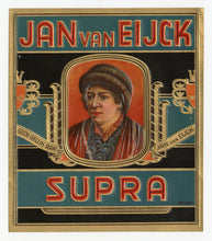 Load image into Gallery viewer, Antique, Unused JAN VAN EIJCK SUPRA Brand Cigar, Tobacco Caddy Crate Label SET of Two