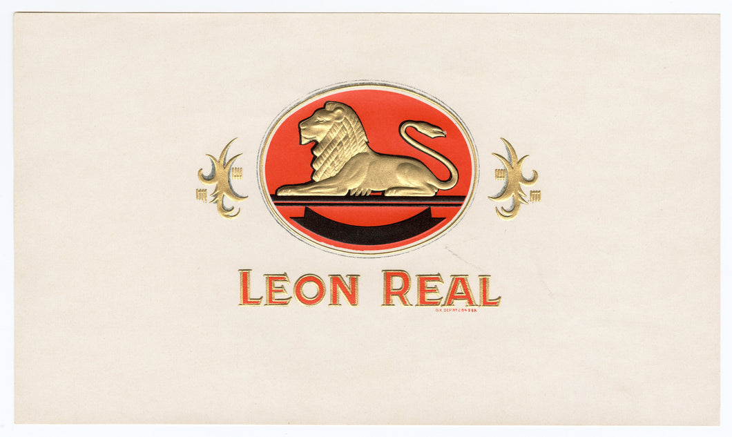Antique, Unused LEON REAL Brand Cigar, Caddy Crate Label SET of Three