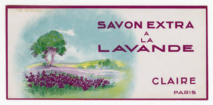 Vintage, Unused, French Art Deco SAVON EXTRA A LA LAVANADE Soap Box Label