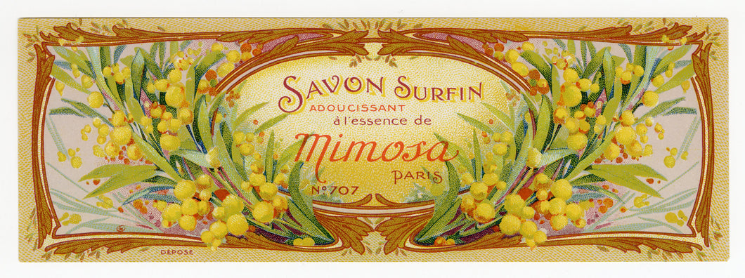 Vintage, Unused, French MIMOSA Brand Soap Crate Label
