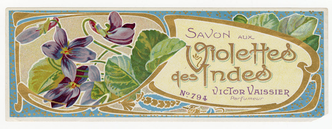 Vintage, Unused, French VIOLETTES DES INDES Soap Box Label