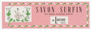 Vintage, Unsued, French SAVON AUX HUILES D'AMANDES DOUCES Soap Label